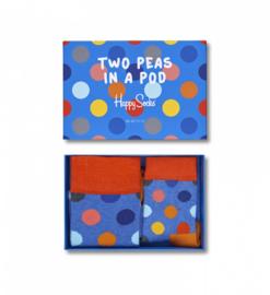 Matching socks maat 41-46 en 0-12maand in gift box - bolletjes