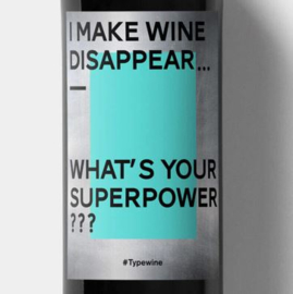 Sticker voor op fles - I make wine disappear