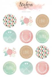 watercolor - stickervel (12 stickers)