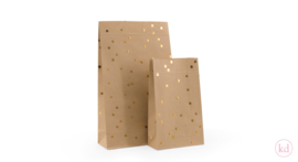 blokbodem zakje Metallic Gold dots  - small