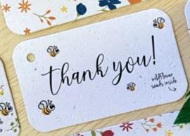 thank you - cadeaulabel (bloeiend)