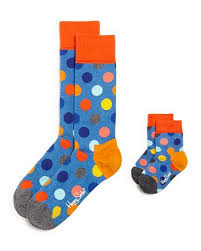 Matching socks maat 36-40 en 0-12maand in gift box - bolletjes