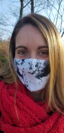 Blanco stoffen mondmasker (wit - marmer)