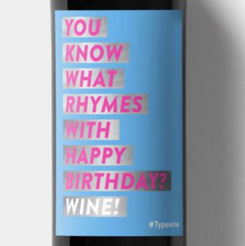 Sticker voor fles - Birthday rhymes with wine