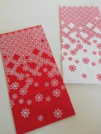 Cadeauzakje Kerst met sneeuwvlokken - rood