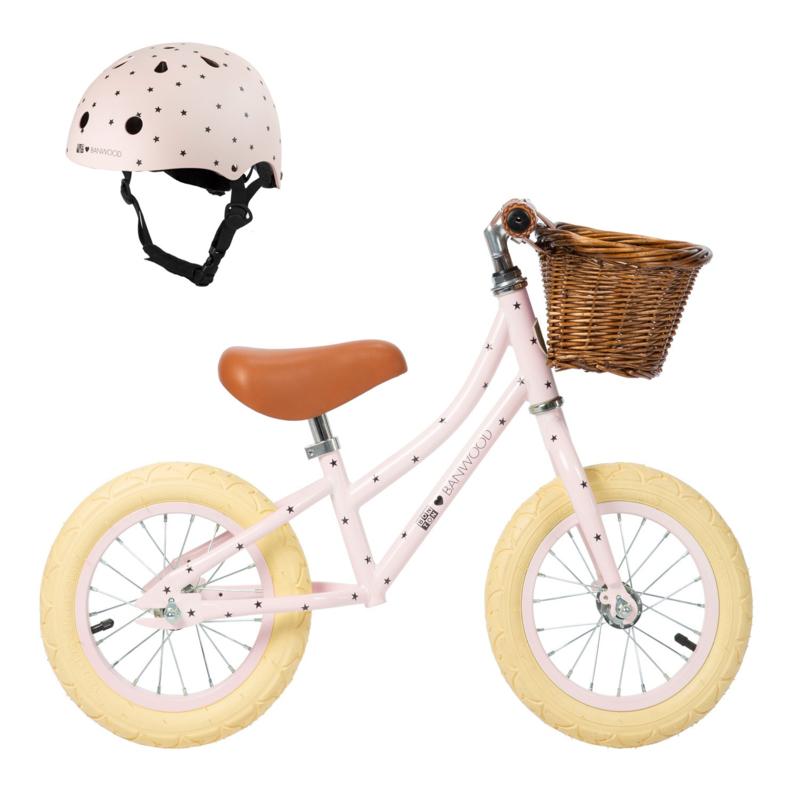 Balance Bike - First Go - Bonton (sterretjes) PINK + HELM