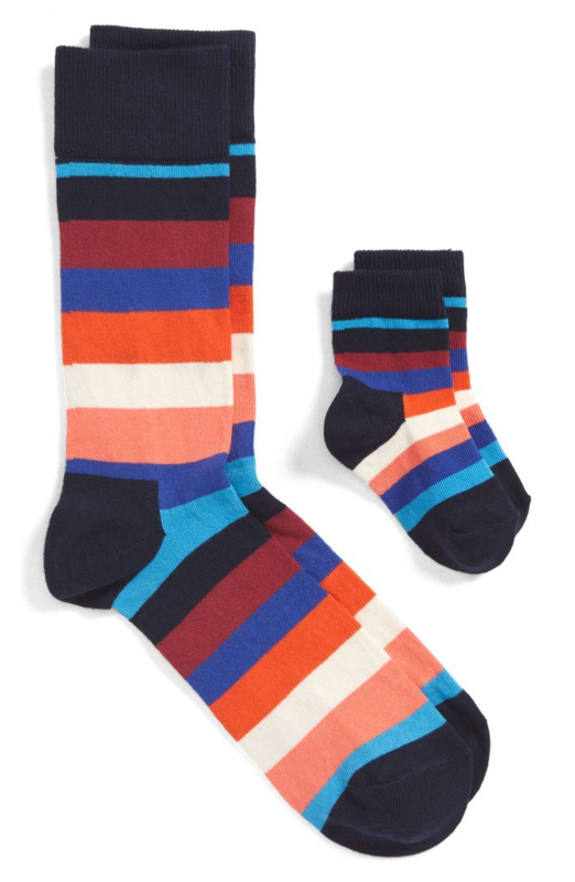 Matching socks maat 36-40 en 0-12maand in gift box - gestreept