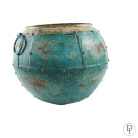 Oude metalen pot 35 cm turquoise