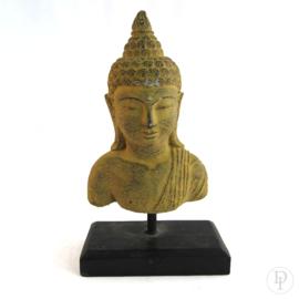 Stenen Boeddha hoofd op standaard