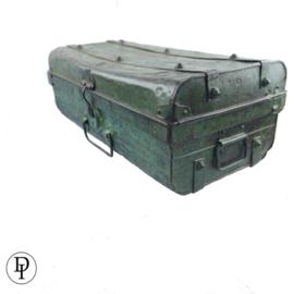 Vintage koffer van ijzer groen mooie patina