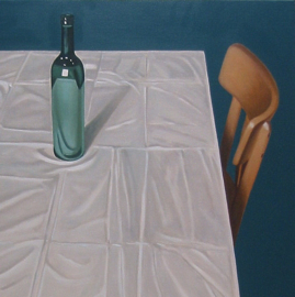 'Stil life with bottle on table' - P. Colstee