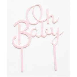 Cake topper - Oh baby - roze