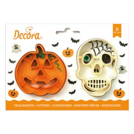 Decora - Koekjes Uitsteker Set 2 Doodshoofd & Pompoen Halloween