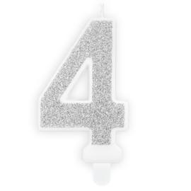 PartyDeco Verjaardag Kaars Nummer 4 - Zilver