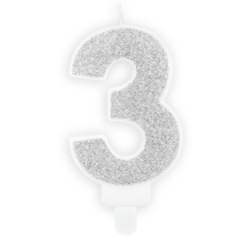 PartyDeco Verjaardag Kaars Nummer 3 - Zilver