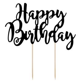 Cake Topper Happy Birthday - Zwart