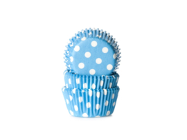 House of Marie Mini Baking Cups Stip Blauw pk/60 [HOM1715]