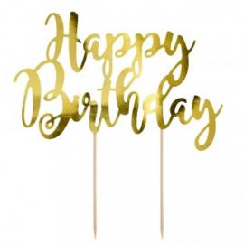 Cake Topper Happy Birthday - Goud