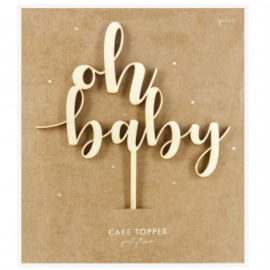 Cake Topper - Oh Baby - hout