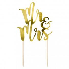 Cake Topper Mr&Mrs - Goud