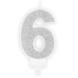 PartyDeco Verjaardag Kaars Nummer 6 - Zilver