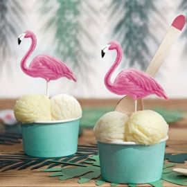 Flamingo taart toppers set/6
