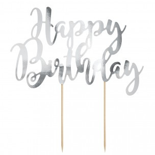 Cake Topper Happy Birthday - Zilver