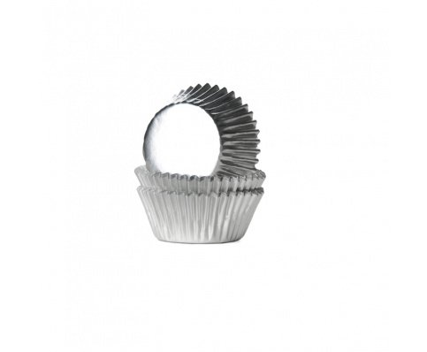 House of Marie Mini Cupcakevormpjes Folie Zilver pk/36
