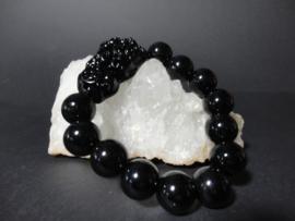 Feng Shui armband van zwarte jade met draak