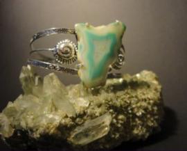 Armband met groene Agaat geode 925 zilver