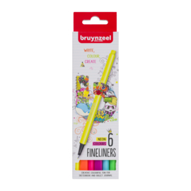 Bruynzeel Fineliners Neon Colours - set van 6