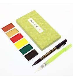 Kuretake Aquarelverf - Irodori Kobako Green Box - set van 8