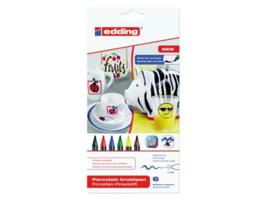 Edding Porselein penseelstiften 4200/6 S basiskleuren - set van 6