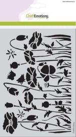 CraftEmotions Mask stencil - Poppie fields klaprozen veld A5