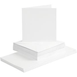 CARD MAKING dubbele blanco Kaarten 15 x 15 cm & enveloppen - wit papier - set van 50