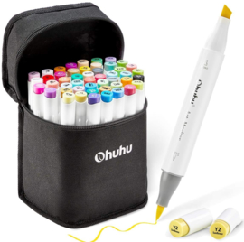 Ohuhu Alcohol based Art markers Brush & chisel - set van 48 + etui