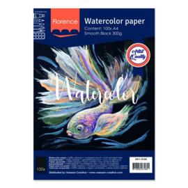 Florence Aquarelpapier smooth Black - 100 vellen 300 grams Zwart papier - A4