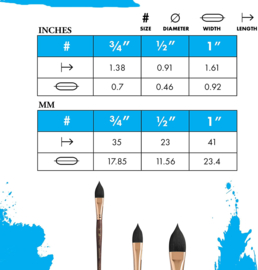 Princeton Neptune Aquarelle Penseel Serie 4750 - Oval Wash size 3/4