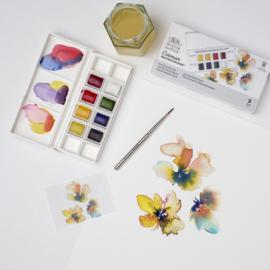 Winsor & Newton Cotman Aquarelverf - pocket set van 8 + penseel - Floral