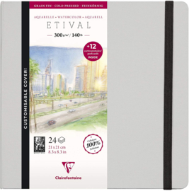 Clairefontaine Etival Aquarelpapier boek - 21 x 21 cm - 24 vellen 300 grams - cold pressed +  12 postkaarten