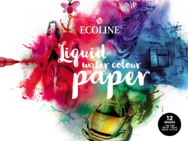 Talens Ecoline Liquid water colour papier - 24 x 32 cm -12 vellen - Wit