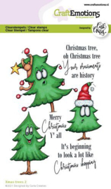 CraftEmotions clearstamps A6 - Xmas trees 2 - Carla Creaties
