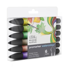 Winsor & Newton Promarker Watercolour brushpennen - Foliage tones  - set van 6