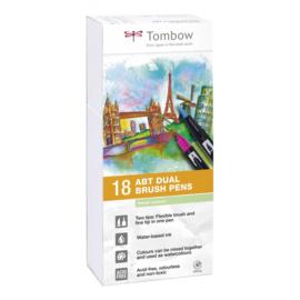 Tombow ABT Dual Brush Pen - set van 18 Pastel colours