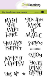 CraftEmotions clearstamps A6 - Handletter -  Wish you were here - Carla Kamphuis