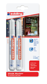 Edding 4095 Raam/krijtstift - rond 2-3 mm - set van 2  wit