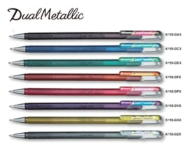 Pentel Hybrid Dual Metallic gelpen  K110 1,0 mm - Rose/Metallic Rose