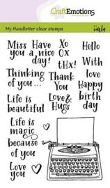 CraftEmotions clearstamps A6 - Handletter - typewriter quotes (Eng) - Carla Kamphuis