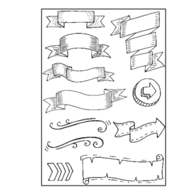 Paperfuel Clear stamp A5 banners - set van 10