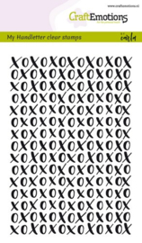 CraftEmotions clearstamps A6 - handletter - XOXO achtergrond Carla Kamphuis
